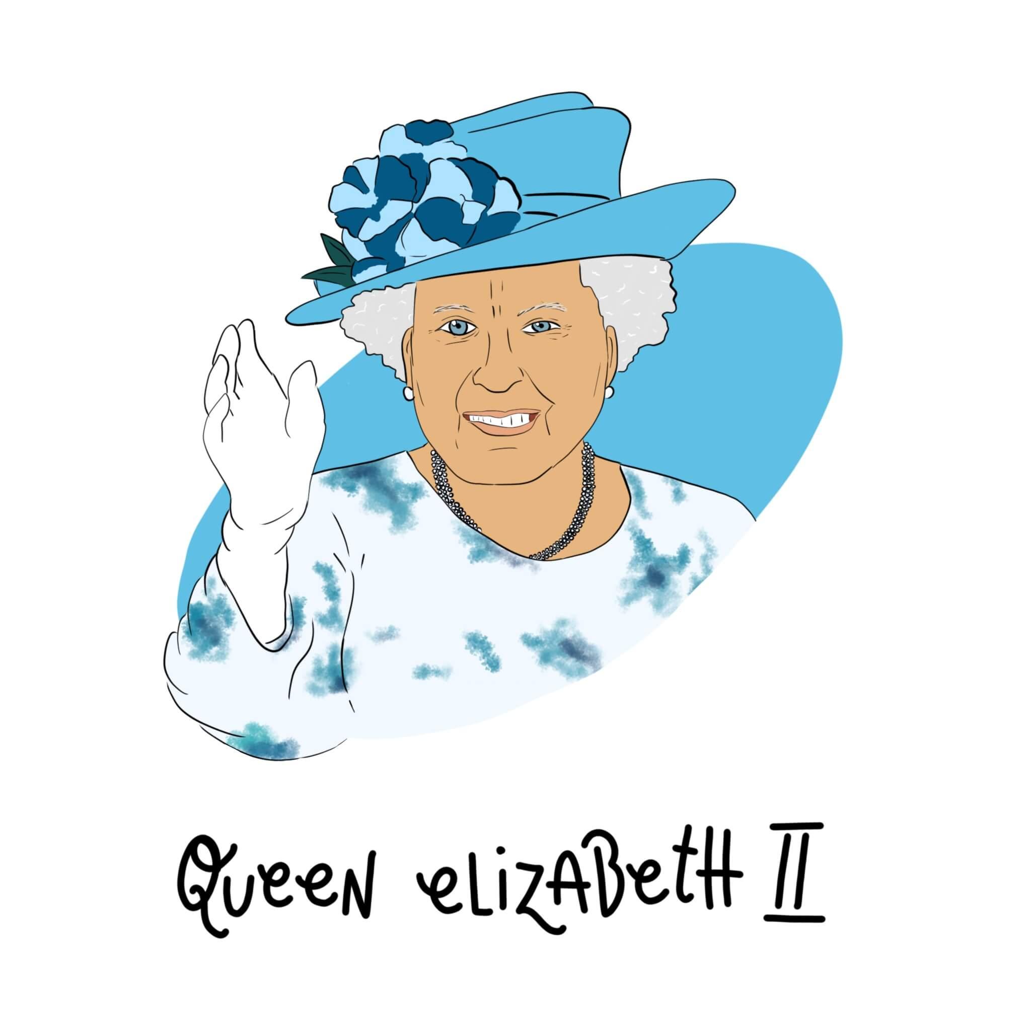 Queen Elizabeth II. Illustration by Jessica Ringelstein