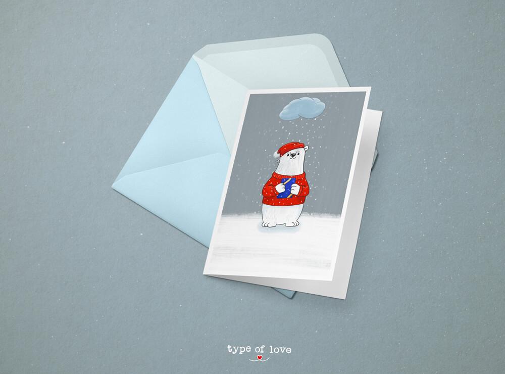 Eisbär Illustration Weihnachten von Jessica Ringelstein