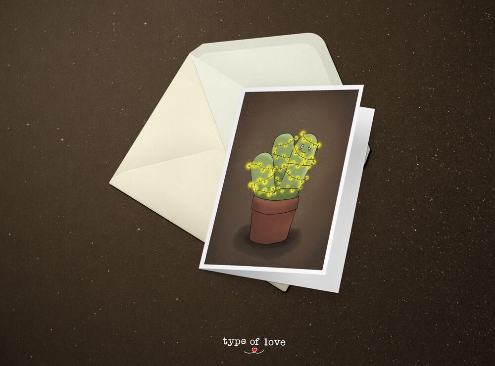 Kaktus Illustration Weihnachten von Jessica Ringelstein