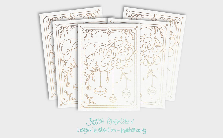Monoline Lettering Weihnachtskarte von Jessica Ringelstein